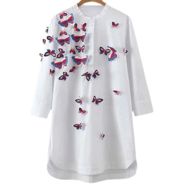White Dip Hem Solid Butterflies Embroidery Blouse ($34) ❤ liked on Polyvore featuring tops, blouses, 3/4 sleeve blouse, embroidered blouse, 3/4 length sleeve shirts, shirt blouse and butterfly blouse