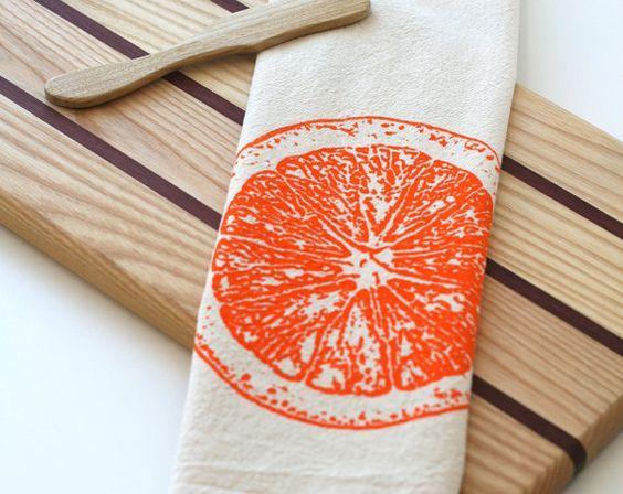 Flour sack orange tea towel
