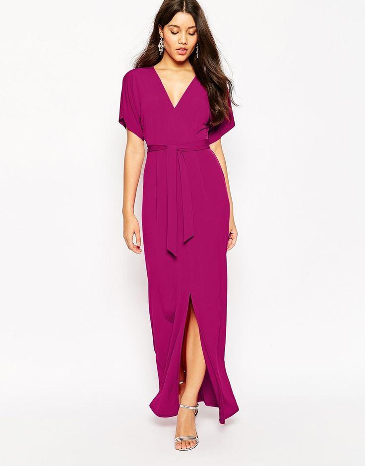 Image 1 - ASOS - Maxi robe cache-cœur en crêpe avec ceinture à nouer