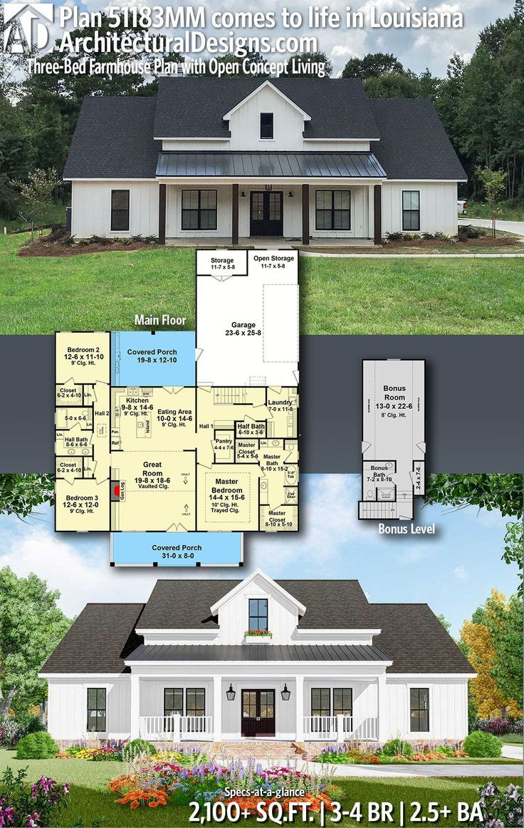 Plan 51183mm Three Bed Farmhouse Plan With Open Concept Living In 2020 Farmhouse Plans Modern Farmhouse Plans Building A House