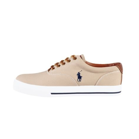 Shop for Mens Vaughn Casual Shoe by Polo Ralph Lauren in Khaki at Journeys Shoes. Casual canvas sneaker from Polo Ralph Lauren featuring a rubber sole and leather lace closures.