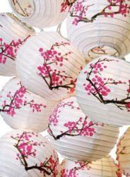 Plum Blossom Paper Lantern Set with Light - Paper Lanterns with Lights