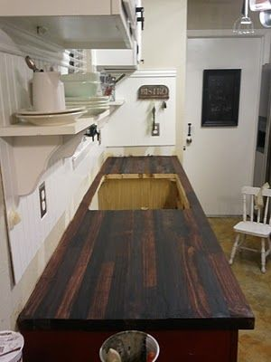 "DIY ""almost butcher block"" countertops -costs well under $100.00 for ALL materials - made of 2x10's & 2x8's, wood filler, construction glue, sealer, stain, polyurethane"