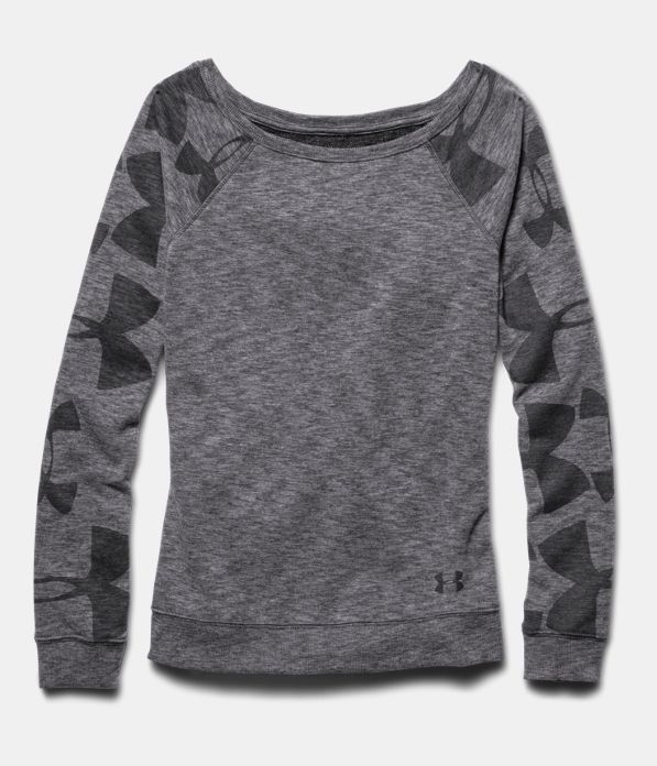 Women's Under Armour Kaleidalogo Pullover. This lightweight French Terry fleece offers superior comfort and durability. Next to skin fit without the squeeze and sleeve graphics for style. It's the perfect piece to layer under a favorite tank. A great gift for anyone looking for a comfy and versatile pullover.