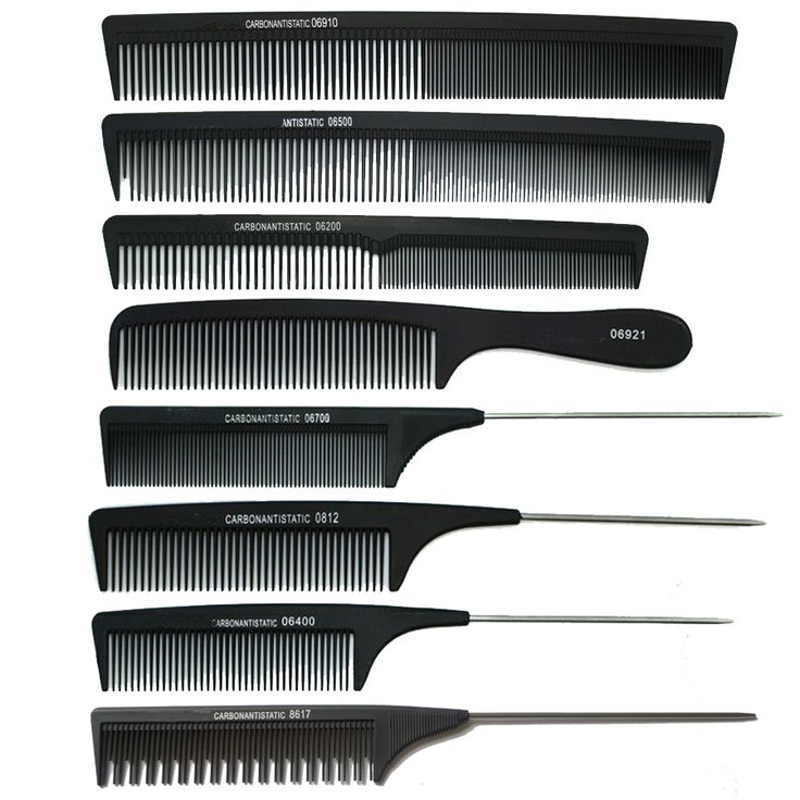 8pcs/ Lot ! Professional Hair Combs /  Hairdresser Special Anti-static Black Styling Tail Comb , Mix Styler