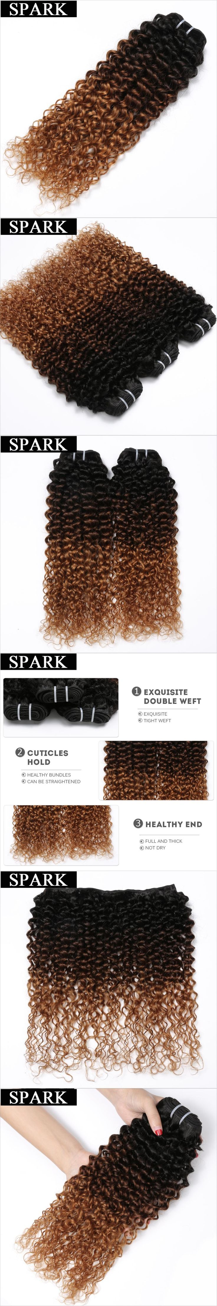 Spark Hair 1 PC Ombre Brazilian Kinky Curly Weave Human Hair Bundles T1B/4/30 3 Tone Ombre non Remy Hair Extensions No Shedding