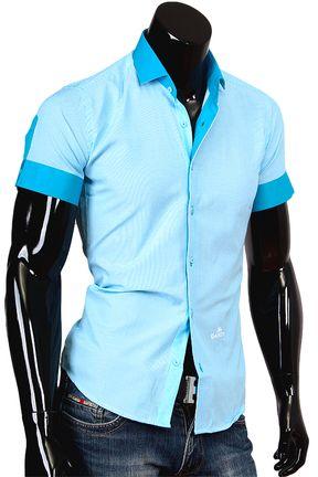 Купить Комбинированная бирюзовая рубашка с коротким рукавом фото недорого в…