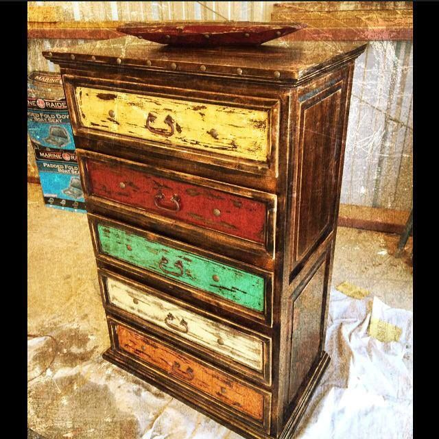 "Comanche Moon ""La Fiesta Dresser"" FOR SALE. Like us on Facebook, & follow us on Instagram! https://www.facebook.com/pages/Comanche-Moon/1396673463882951?ref=tn_tnmn #rustic #colorful #southwest #clavos #distressed #hacienda #furniture #cowboy"