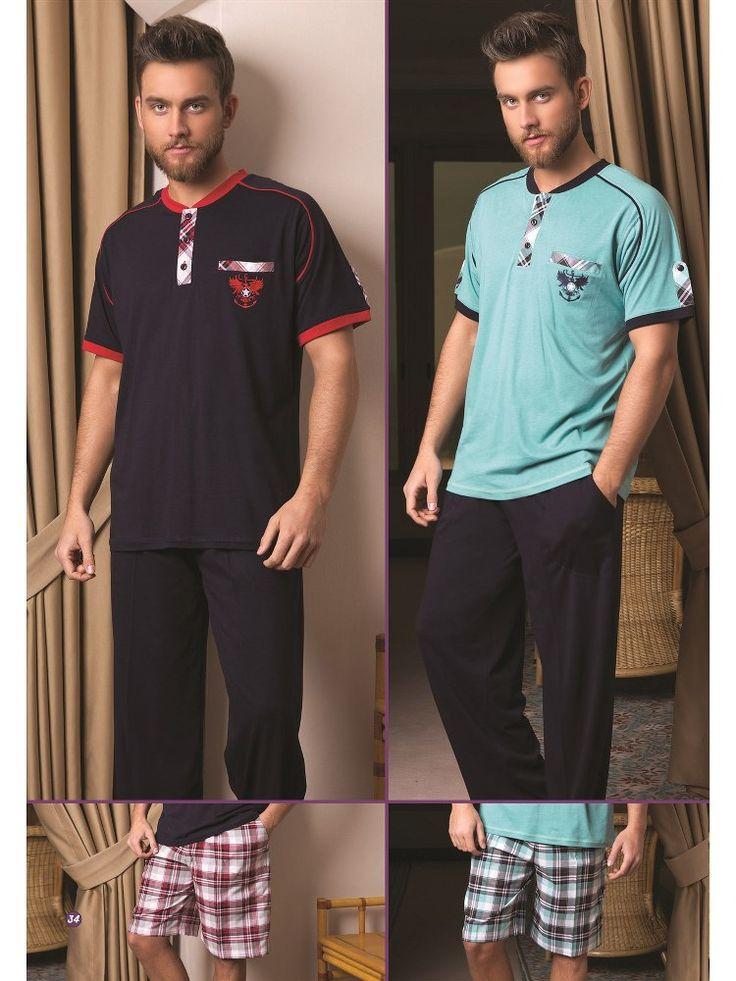 Bone 3848Erkek 3 lü Pijama Takım; Penye ve dokuma kumaştan üretilen erkek 3 lü pijama takım modelidir.