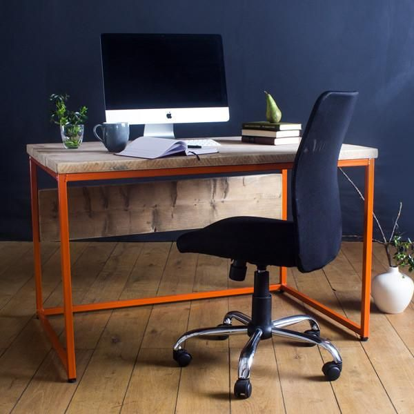 Orange Industrial Reclaimed Wood Desk with Chair and AppleMac - Best 25+ Reclaimed Wood Desk Ideas On Pinterest Rustic Desk