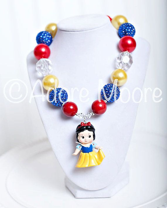 Snow White Necklace, Disney Kids Necklace, Chunky Necklace, Chunky Bead Necklace, Child Girls Necklace on Etsy, $22.00