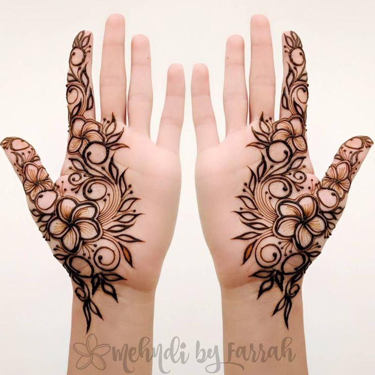 Henna mehndi design intricate modern frangipani mehndibyfarrah plumeria body art