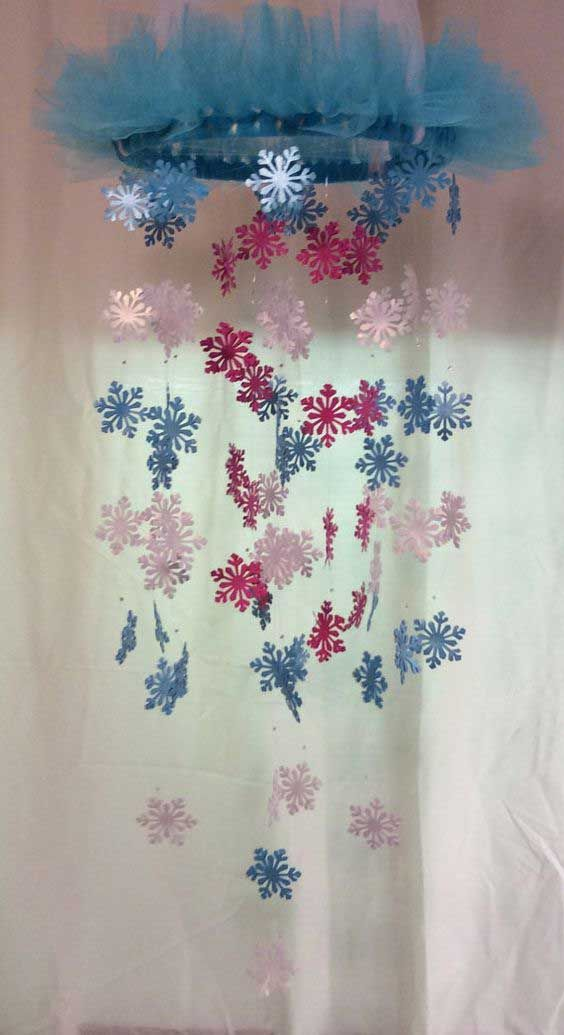 Make a Cute Frozen Snowflake Chandelier ---  25 Cute Frozen Themed Room Decor Ideas Your Kids Will Love