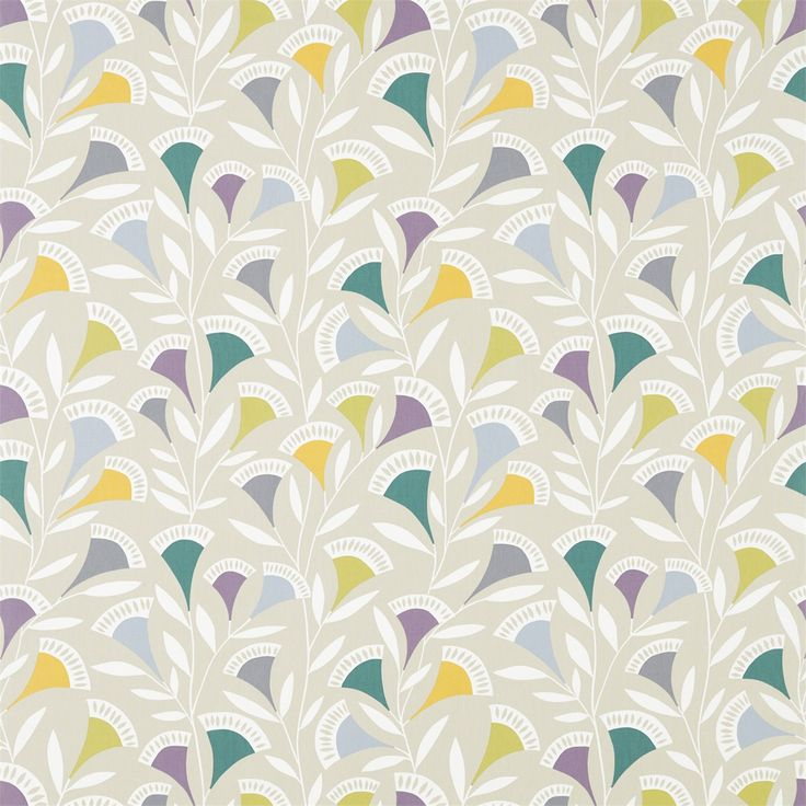 Scion Noukku A naïve floral trail fabric design, characterised by geometric flowerheads & leafy branches. Available in five colours.