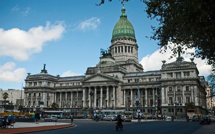 壁紙をダウンロードする 全国大会アルゼンチン, パレス, 4k, 新古典主義の建築, ブエノスアイレス, 会議スクエア, アルゼンチン
