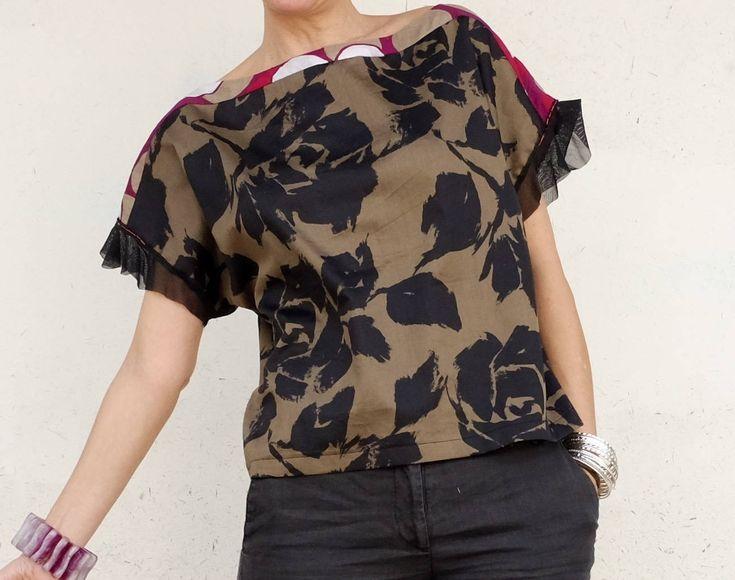 Maglietta a Fiori - Top a Fiori - Maglietta in Cotone a Fiori - Top in Cotone a Fiori - T-Shirt a Fiori in Cotone - T-Shirt Boho - T- Shirt di atelierPop su Etsy