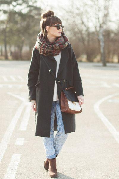 gray Choies coat - blue Newlook jeans