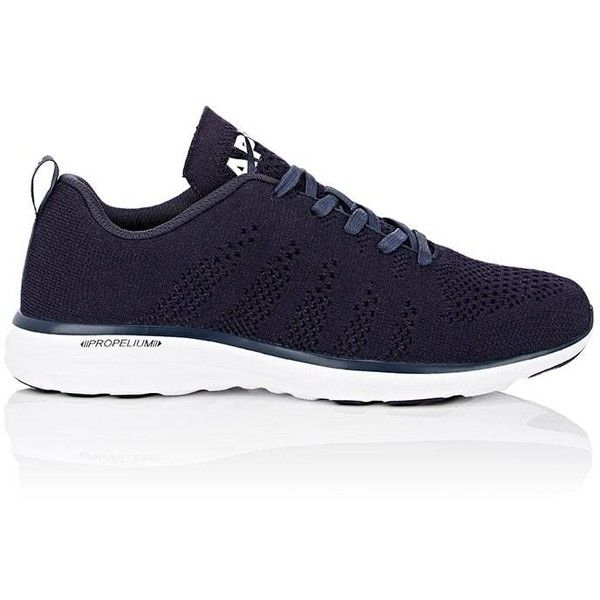 APL Men's TechLoom Pro Sneakers ($250) ❤ liked on Polyvore featuring men's fashion, men's shoes, men's sneakers, navy, navy blue mens shoes, mens shoes, men's low top shoes, mens lace up shoes and mens round toe dress shoes