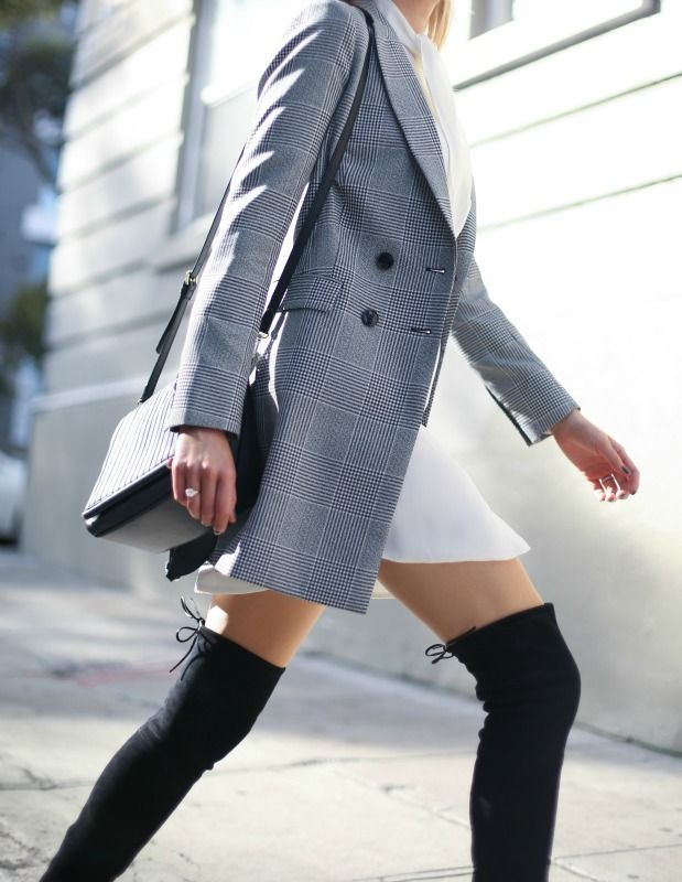 Winter Workwear Outfits // double-breasted black and white checked jacket, ivory tie neck shirtdress, suede over-the-knee boots + crossbody bag {reiss, stuart weitzman}