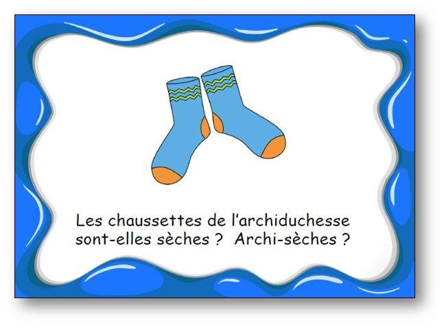 """FREE French tongue-twisters cards. Des virelangues pour jouer avec les mots et s'entraîner à articuler. Virelangue """"Les chaussettes de l'archiduchesse"""""""