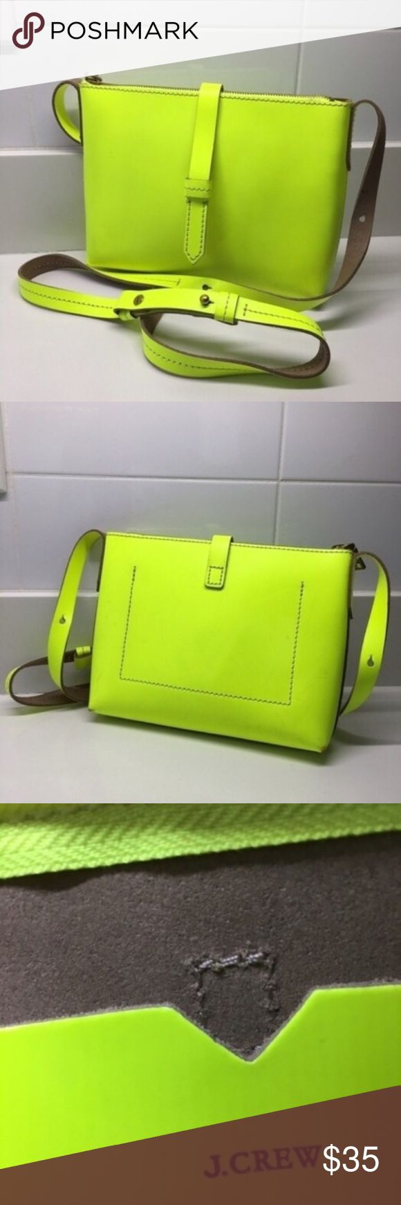 J Crew Parker Crossbody Brand: J crew Type: Crossbody bag Color: neon yellow Material: 100% leather  Condition: I've worn it only a couple of times. The bag itself is in a very good condition, zipper works perfect. There are only some light spots on both sides of the bag, like you can see on the picture in my gallery.   Retail price: $98.00 J Crew Bags Crossbody Bags