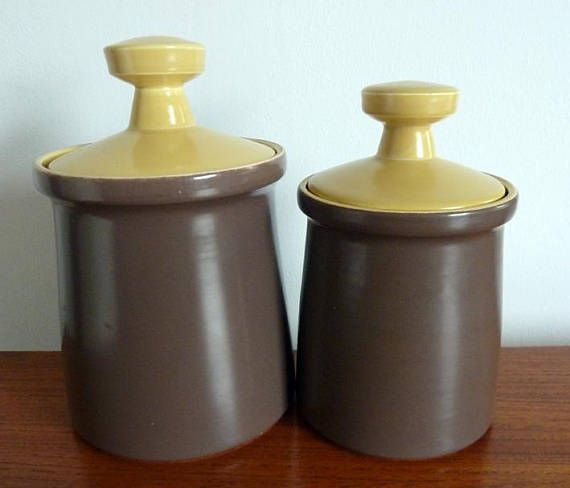 A Pair of Vintage 1960s Poole Pottery Twintone Storage
