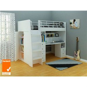 Norman Midi Sleeper Bunk Bed With Movable 2-Drawer Desk, 3-Drawer Chest And 2-Door Cupboard in Ivory - King Single - Bunk Beds - Kids Bedroom - Kids Furniture