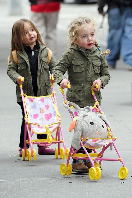 The adorable twins of Matthew Broderick and Sarah Jessica Parker, Marion and Tabitha Broderick enjoy a playdate in New York City