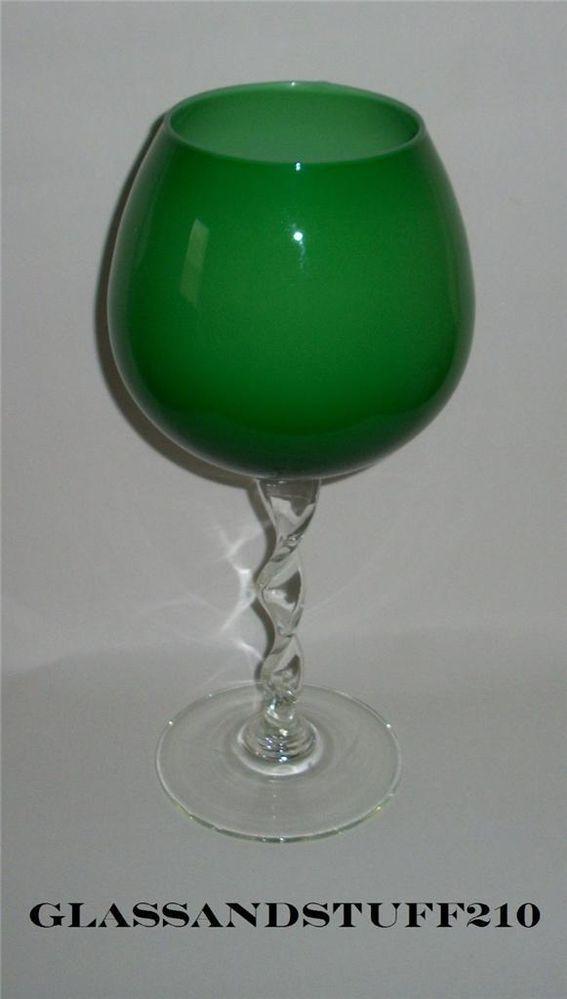 Italian Green Cased Art Glass Vase Twisted Stem Goblet Quot Opalino Italia Quot Glass Vase Vase And