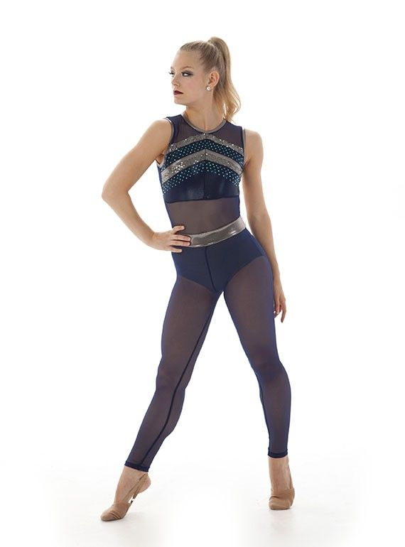 Emerson unitard styled with rows of sparkly Zsa Zsa fabric and a dramatic open low back!