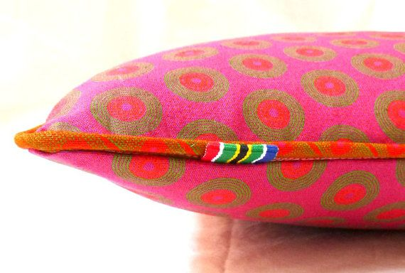 Pink Shweshwe Cushion Cover  100 Cotton Hand Made by MathildeAndCo, £15.00