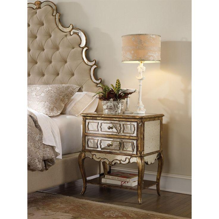 hooker furniture sanctuary mirrored leg nightstand in bling