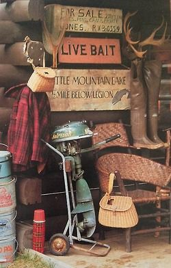 Vintage cabin and fishing gear