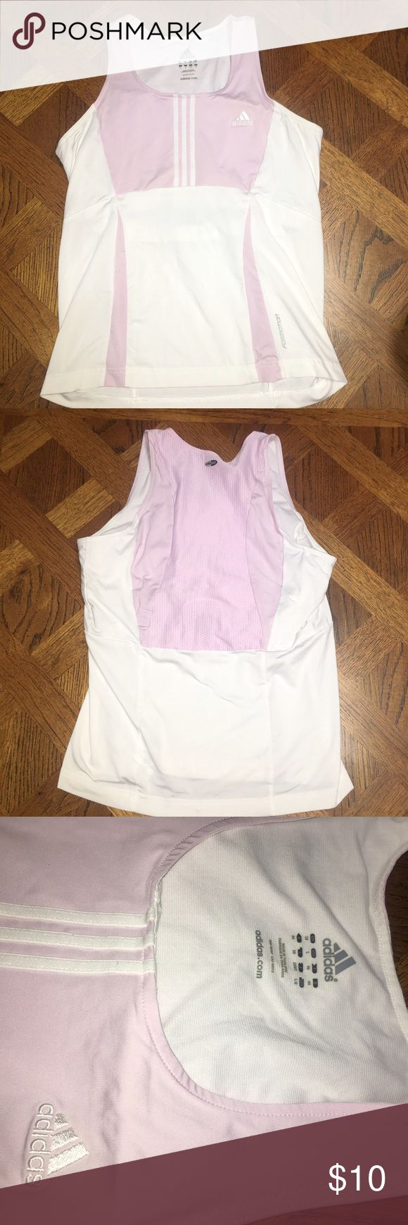 ADIDAS workout shirt SUPER CUTE light pink ADIDAS workout shirt - this is honestly my favorite thing ever and it's so cute - amAzing condition and great quality  *will post more pics if requested* make an offer:)  bundle this with anything to save!! adidas Tops Tank Tops