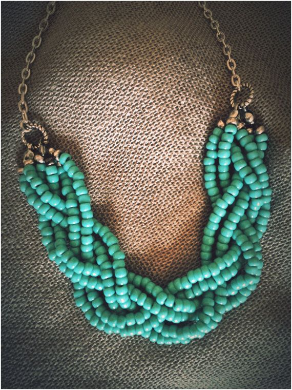 Mint Green Handmade Beaded Long Statement Necklace- diy