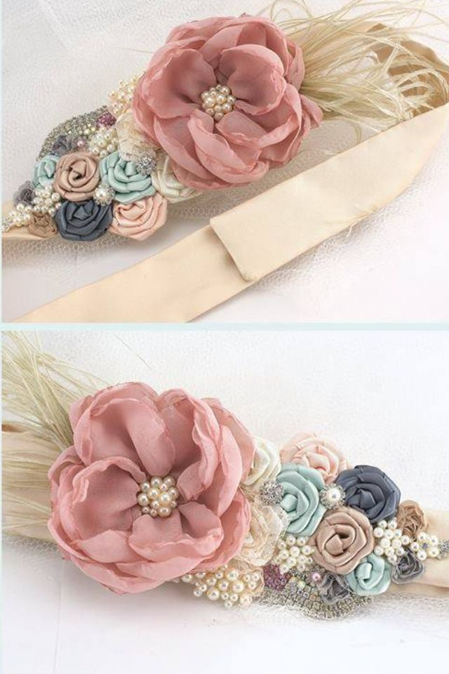 sterling silver jewlery ribbon embroidery flowers