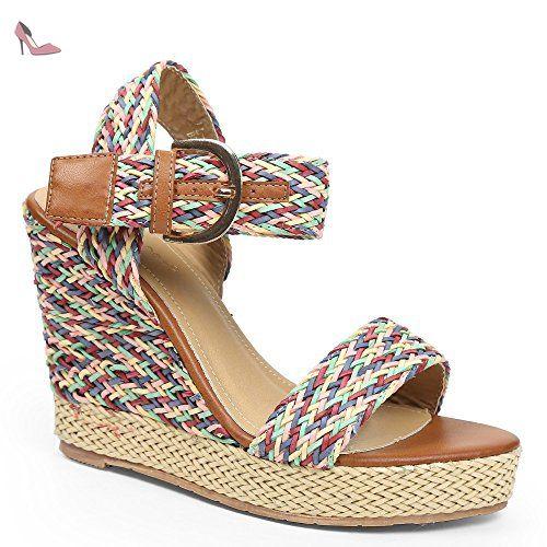Ideal Shoes - Sandales tressées compensées Laena Bleu 40 - Chaussures idal shoes (*Partner-Link)