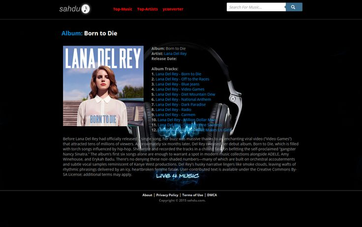 "The Album view ""Album: Born to Die - Artist: Lana Del Rey"" http://sahdu.com/album-c98842dc-f272-4716-b59e-0b706e844836/"