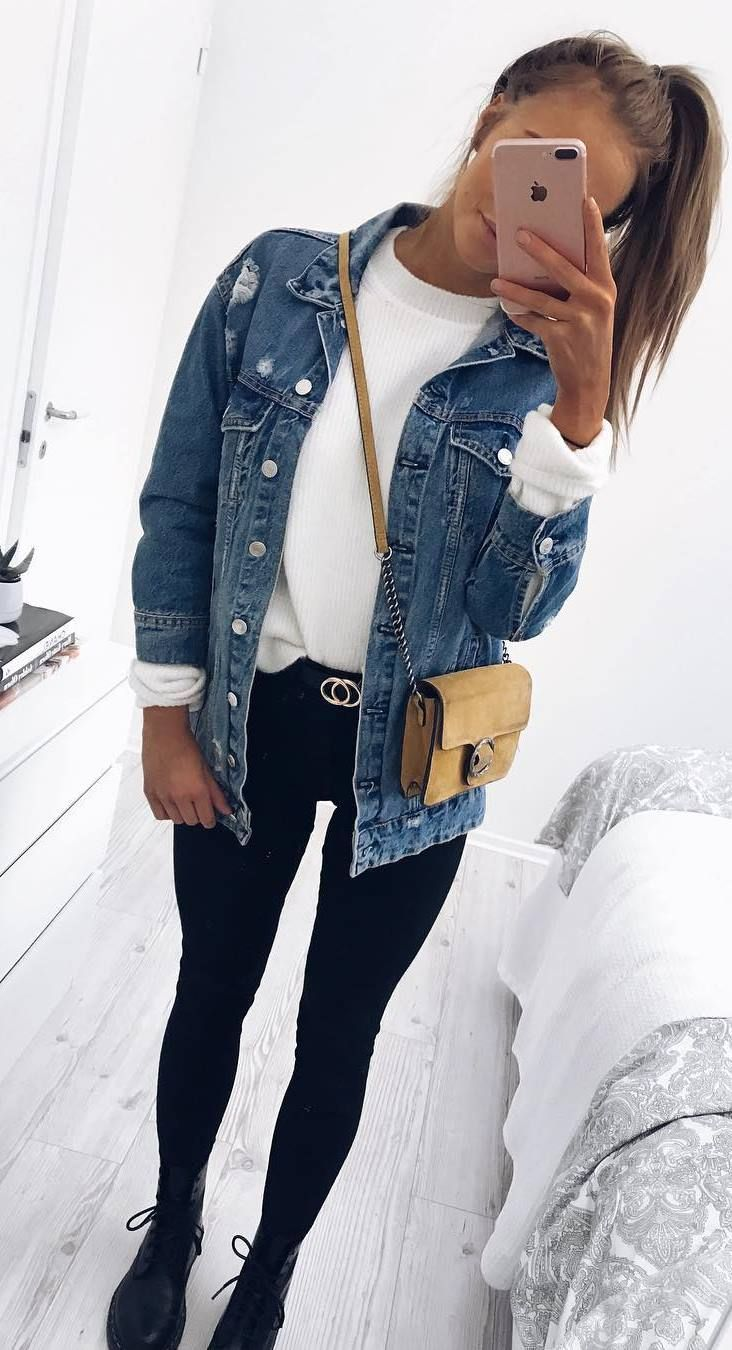how to wear a denim jacket : white top + bag + black skinnies + boots