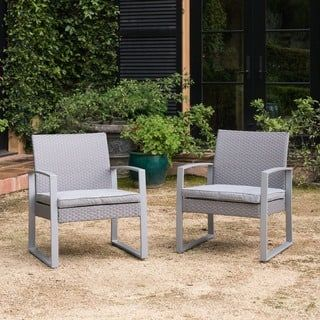 Shop for Alsace Grey Wicker Patio Chairs with Cushions by Corvus (Set of 2). Get free delivery at Overstock.com - Your Online Garden & Patio Shop! Get 5% in rewards with Club O! - 21180499