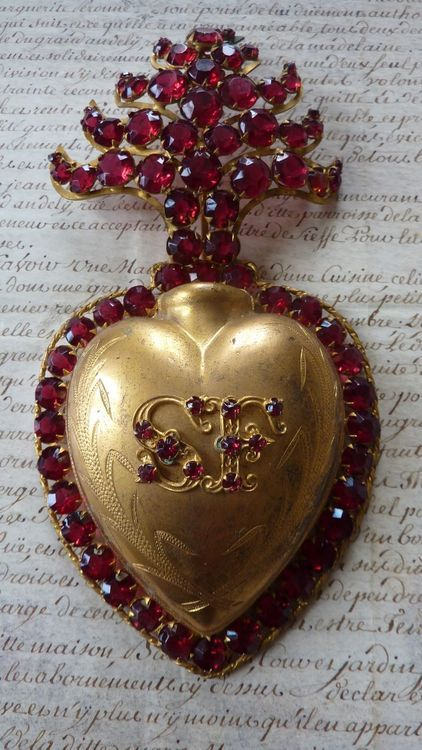 19th C French jeweled sacred heart box reliquary ex-voto.