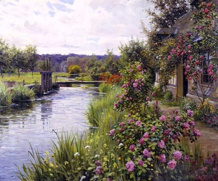 paintings of large big flowers | Louis Aston Knight - Louis Aston Knight flowers in bloom Painting