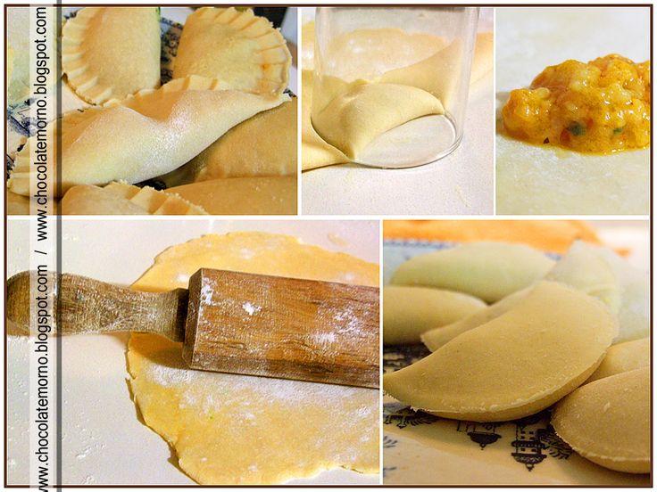 Ingredientes: Massa: - 1,5 dl de água - 1 dl leite - 1 casca de limão - sal - 50g de margarina - 300 g de farinha Recheio - 1\2 c...