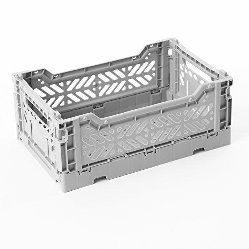 AY-KASA Folding Basket , Collapsible Storage Bin/Container: Storage , Kitchen , Houseware Utility Basket/Tote, DARK PINK , Mini-BOX (LIGHT GRAY)