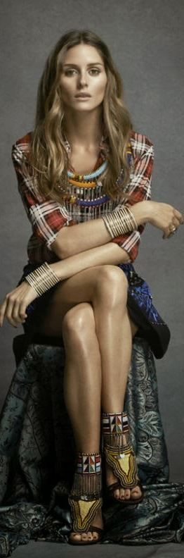 olivia palermo  Who made  Olivia Palermos red plaid shirt and beaded fringe sandals?