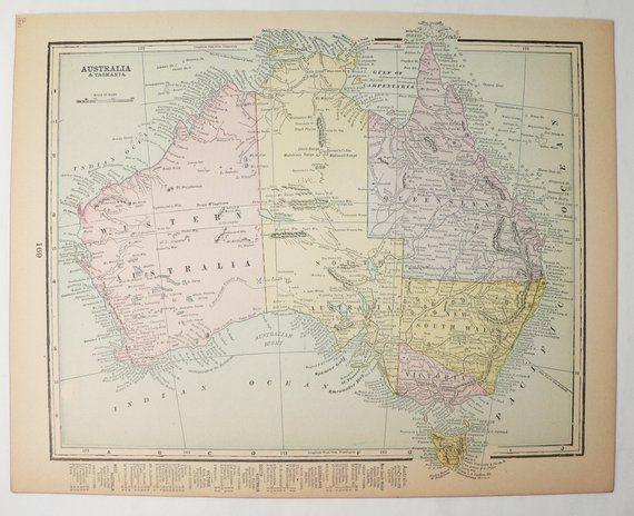 Australia Map 1900.Vintage Map Of Australia 1900 Old Australia Map Man Cave