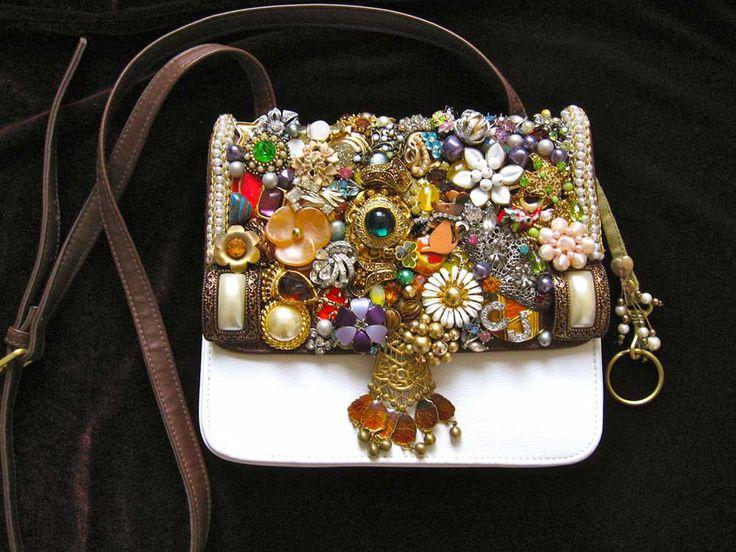 Daphne Vintage Jewelry Art Rhinestone Embellished Leather
