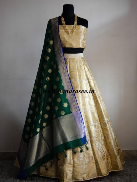 Banarasee/Banarasi Handwoven Art Silk Unstitched Lehenga & Blouse Fabric-Off White