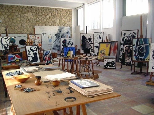 Joan Miro working space, Mallorca. His work is so playful. I'm sure being in his studio felt like being on a playground.