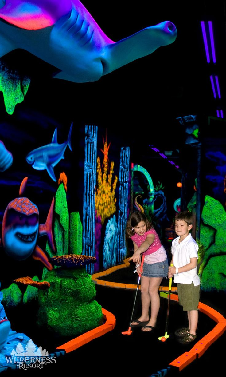 The Wild Abyss indoor mini golf course is AMAZING! It is lit with black lights so all of the graphics are so intense, plus you are given 3D glasses that you can wear to make them stand out even more.  Best of all, there are huge saltwater aquariums inside so you can turn it into a learning experience too! Don't miss this attraction, it is so fantastic. #Wilderness Resort #Wisconsin Dells